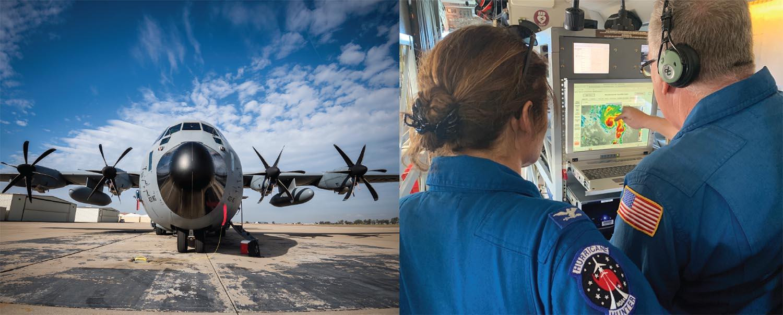 An Air Force C-130 J aircraft. Credit: Erik Jepsen. Right:NOAA49 and crew studies Hurricane Dorian. Credit: NOAA.