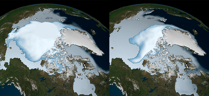 Arctic winter sea ice extent, with multi-year ice in bright white, in 1980 (left) and 2012. Image: NASA Sci. Vis. Studio