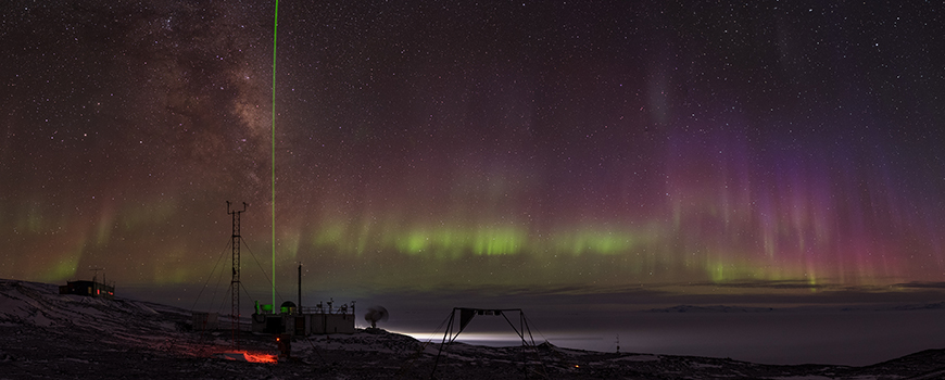 AWARE panorama with Aurora Australis