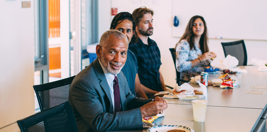 Major Charles Bolden Jr. speaks with Scripps students.