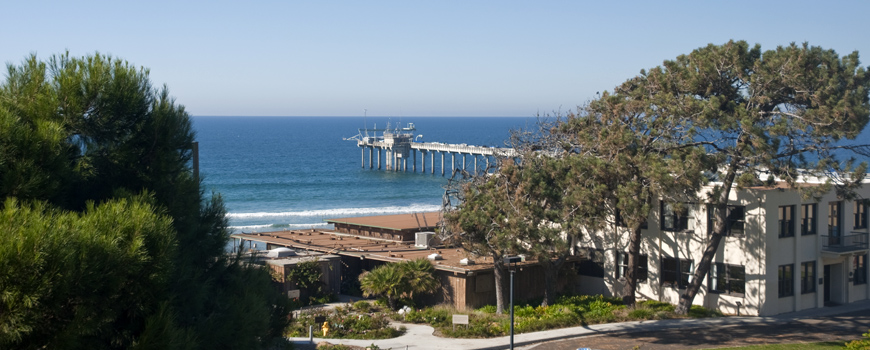 The Scripps campus and the pier in the background.