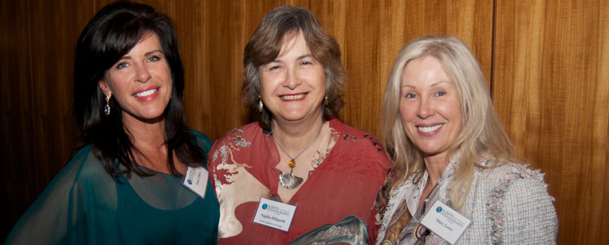 Director's Circle member Patty Elkus, Executive Director of Birch Aquarium at Scripps Nigella Hillgarth, and member Mary Lowe