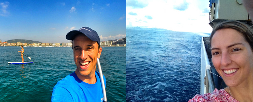 Split-screen image of two students smiling with the ocean behind them.
