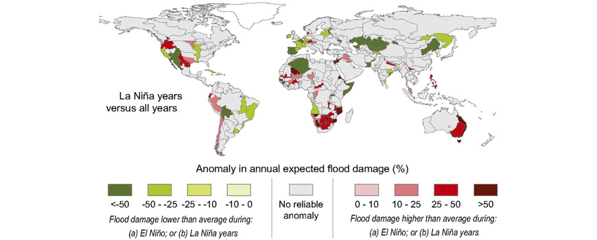 Percentage anomaly per FPU in annual expected damage in urban areas