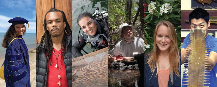 From left, new PhDs Sara Rivera, Osinachi Ajoku, Alyssa Griffin, Matthew Costa, Kara Voss, and Garfield Kwan