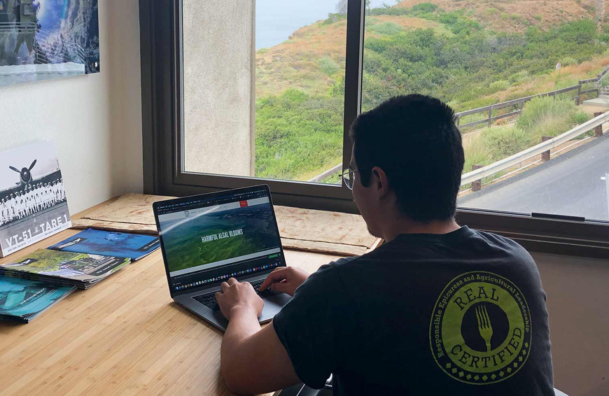 A student works at a laptop in front of a window with a view of a cliff.