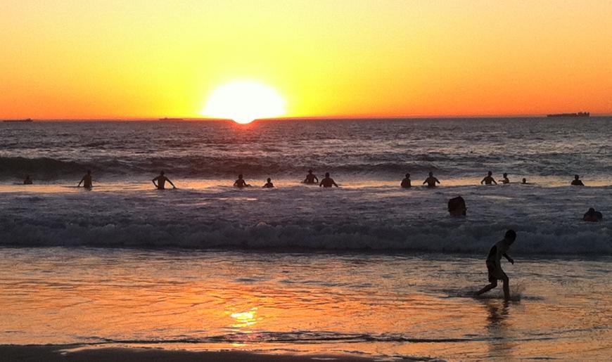 Beachgoers during a marine heatwave.