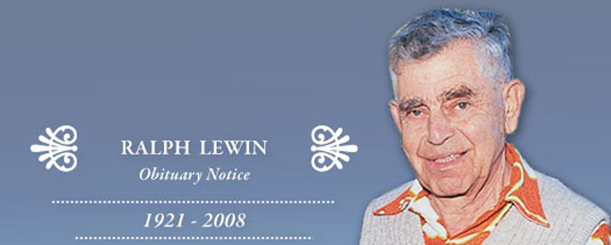 Obituary Notice: Esteemed Marine Biology Pioneer: Ralph A. Lewin