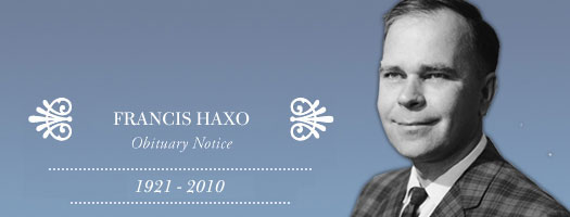 Obituary Notice: Leading Marine Biologist: Francis Haxo