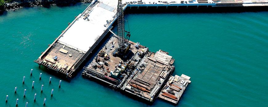 Aeria photo of new MarFac Pier under construction.