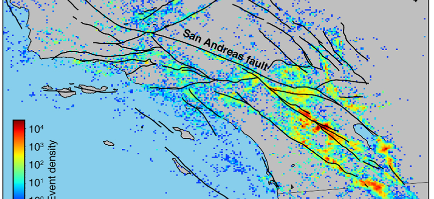 New mapping of earthquake density reveals hundreds of thousands of small earthquakes. Image: Science