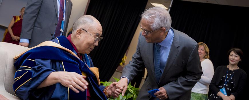 His Holiness the 14th Dalai Lama and Scripps scientist Veerabhadran Ramanathan.