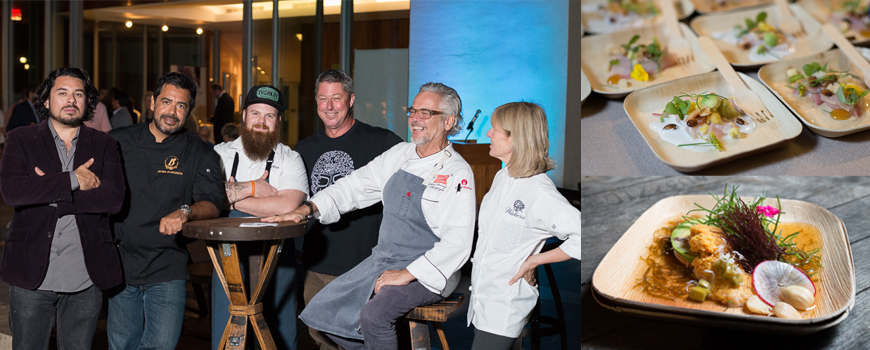 Six chefs and plates of food
