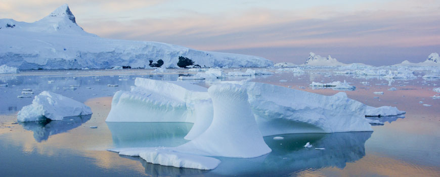 Icebergs at sunset in the Antarctic Peninsula.