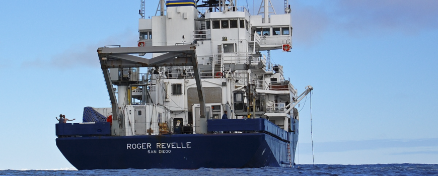 R/V Roger Revelle's eco-friendly paint decreases drag and fuel consumption, while also helping to reduce ocean contamination.
