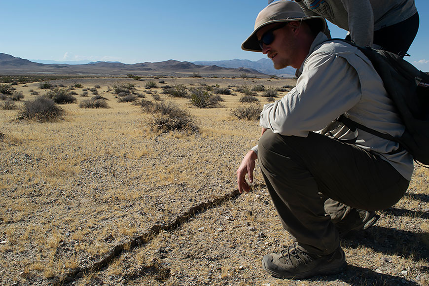 Drake Singleton examines the surface rupture of the recent 7.1-magnitude earthquake near Ridgecrest, Calif. Photo: Nick Lau