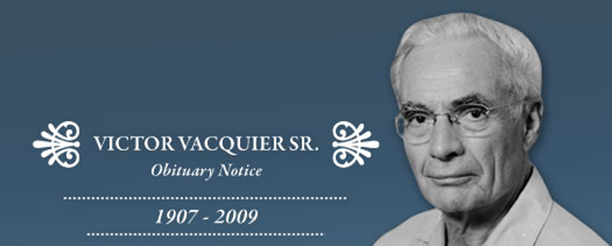 Obituary Notice: Renowned Geophysicist and Professor: Victor Vacquier Sr.
