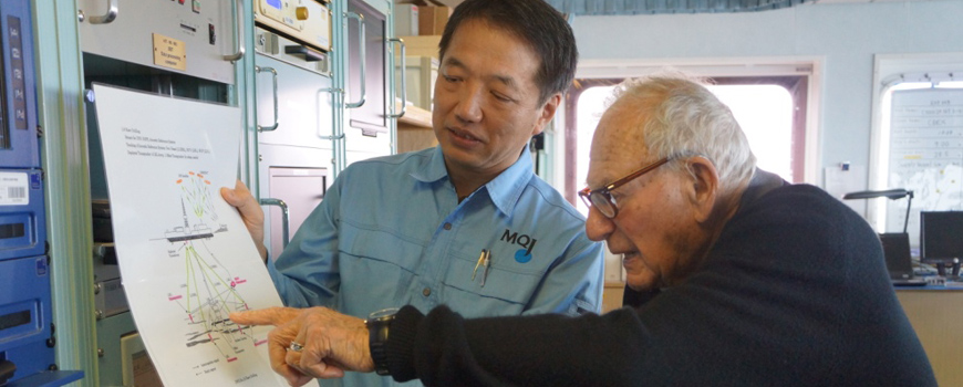 Walter Munk aboard D/V Chikyu.