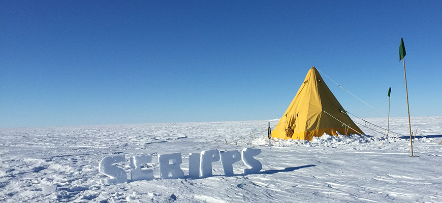 Scripps representing during recent fieldwork in West Antarctica. Photo: Oliver Marsh and Matt Siegfried
