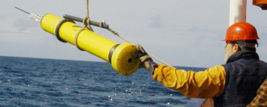 An APEX float is deployed from a German research vessel.