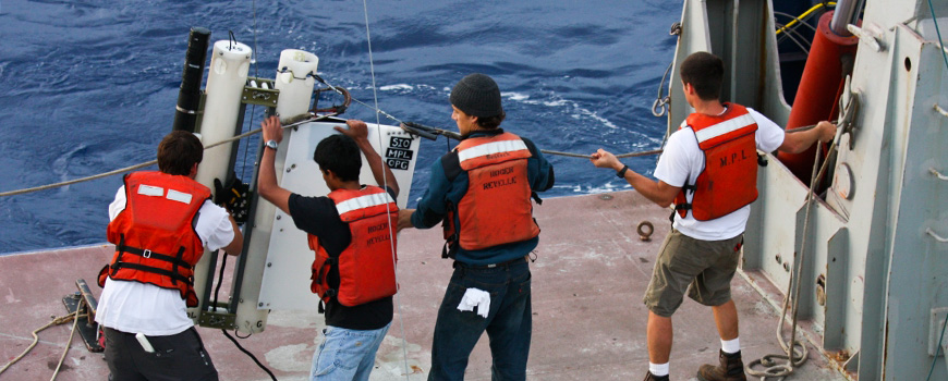 A Wirewalker profiling device is deployed off a Scripps research vessel.