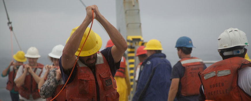 Raising and lowering instruments in the ocean during the first leg of ASIRI