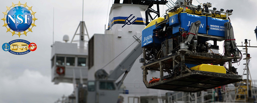 ROV Jason being loaded aboard R/V Roger Revelle in Auckland, New Zealand.  This research is supported by the National Science Foundation