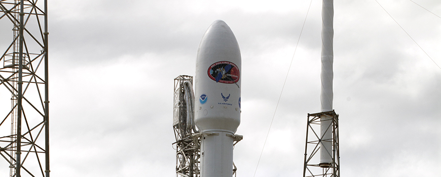 NOAA's Deep Space Climate Observatory spacecraft, or DSCOVR, tops rocket set to lift off today. Photo: NASA/Kim Shiflett