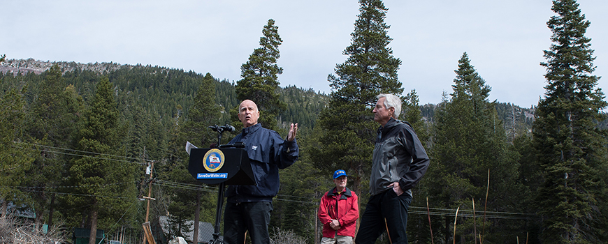 Calif. Gov. Jerry Brown directs statewide mandatory water reductions, April 1, 2015