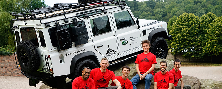 'Trail by Fire' scientists with their 'mobile volcano observatory.' Photo: Royal Geographic Society