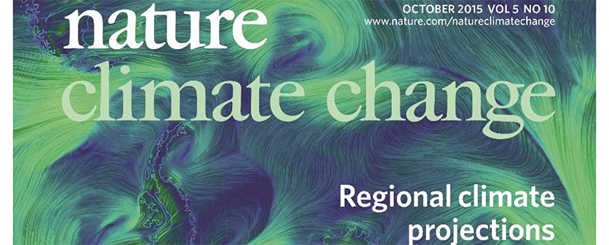 Scripps' Shang-Ping Xie led study on the cover of the Oct. 2015 issue of Nature Climate Change. Image courtesy of Nature