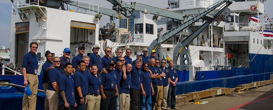 Captains and crew of Scripps R/V Melville gather at its send-off Feb. 21, 2015