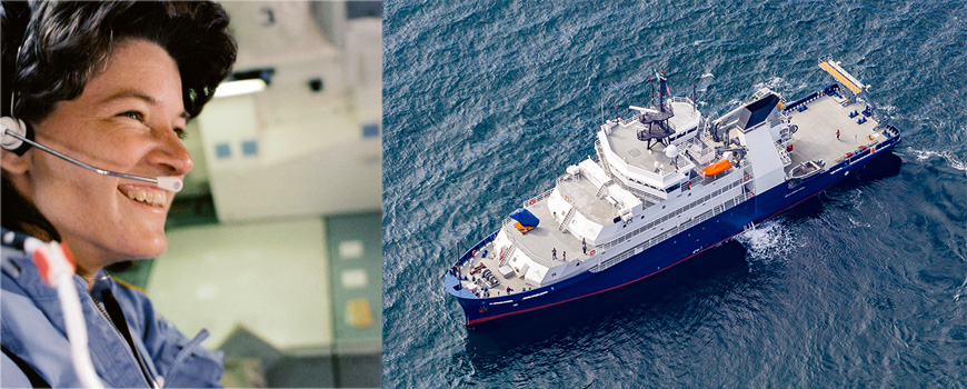 Sally Ride portrait and aerial image of the vessel