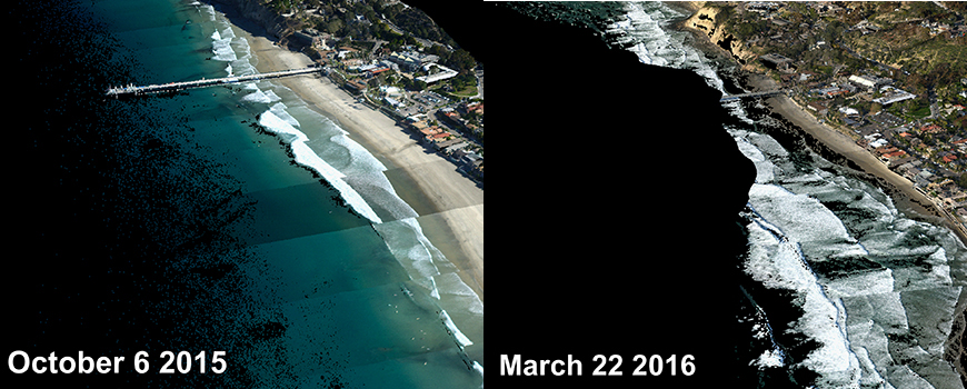Two views of La Jolla Shores during El Niño 2015-16