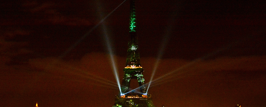 The Eiffel Tower illuminated for COP21