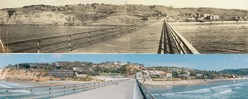 Panorama of Scripps campus from pier in 1927 and 2016