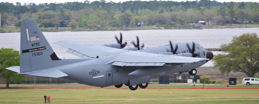 USAF C-130 at takeoff