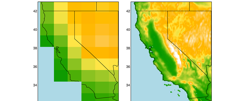 Global climate model representation of California elevations (left) compared to LOCA