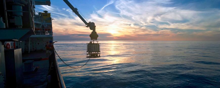 Sunset CTD deployment aboard R/V Roger Revelle in the tropical Indian Ocean, GO-SHIP I09N.