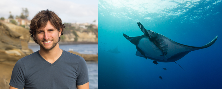 Joshua Stewart and a manta ray