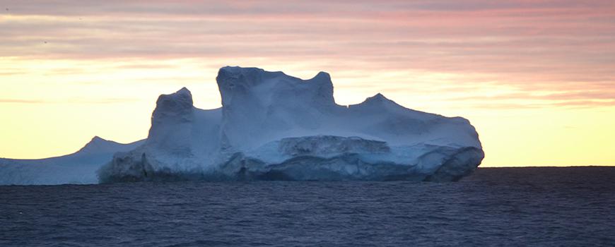 Anarctic iceberg at sunrise. Photo: Alison Macdonald/WHOI