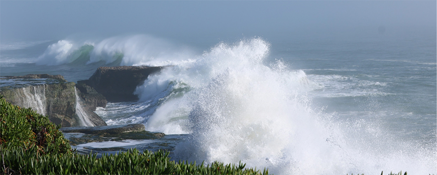 Large storm waves crashing on the rocks near Santa Cruz, Calif. Photo: Christine Hegermiller/U.S. Geological Survey