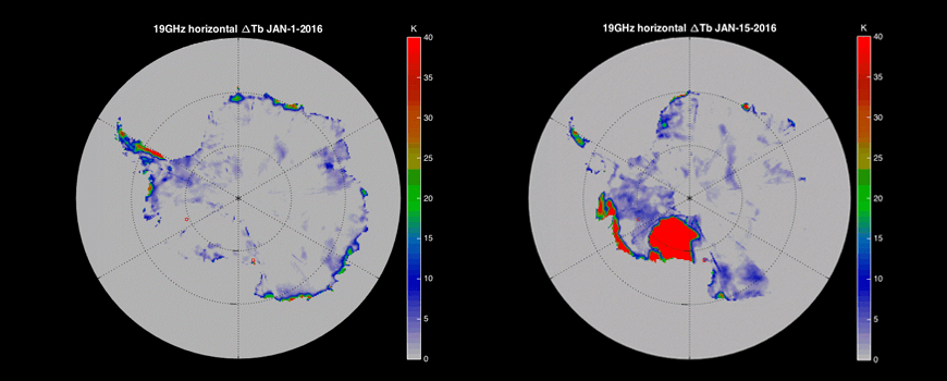 Progression of surface melt on the West Antarctic Ice Sheet. Image: Ryan Scott