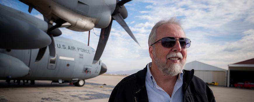 "Scripps meteorologist Marty Ralph with ""Hurricane Hunter"" aircraft. Photo: Erik Jepsen"