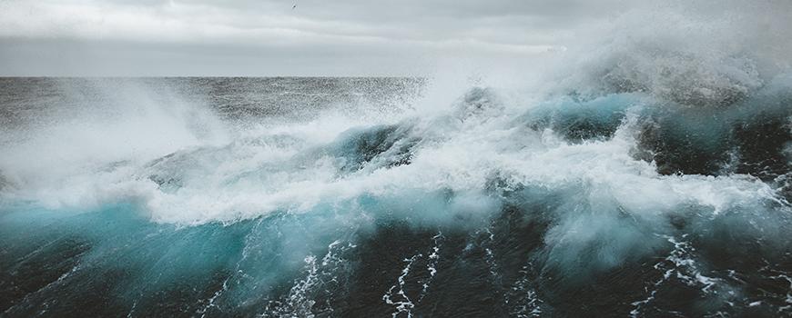Rough seas during an April 2018 Southern Ocean transit. Photo: B. Jack Pan