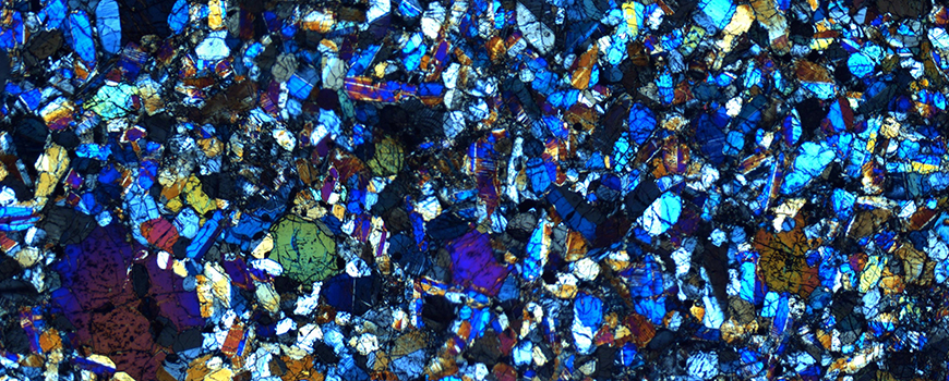 Crystal structures within a nakhlite meteorite. Photo: James Day