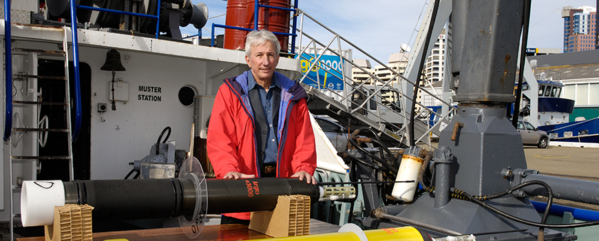 Scripps oceanographer Dean Roemmich at 2007 ceremony commemorating deployment of 3,000th Argo float