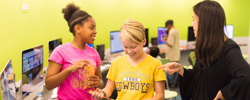 Students learn about circuits in a classroom.