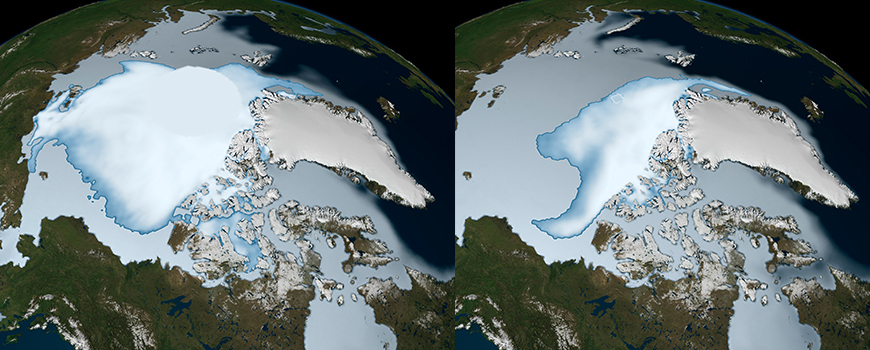 Arctic winter sea ice extent in 1980 (left) and 2012. Image: NASA Scientific Visualization Studio
