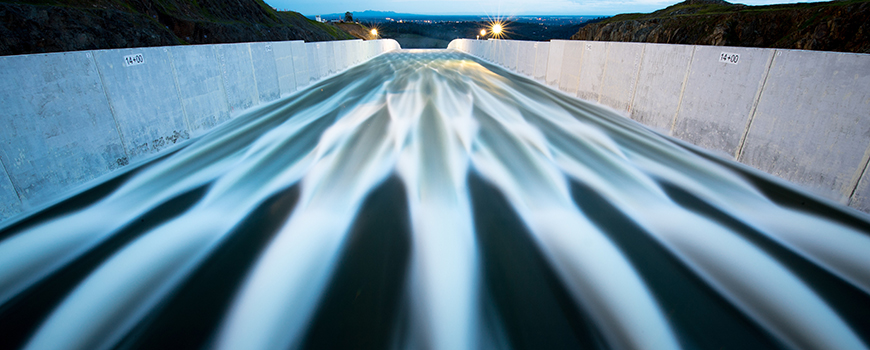 Water flows through Oroville Dam spillway, April 2019. Photo: Calif. Dept. of Water Resources